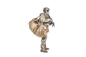 Soldier with duffle bag