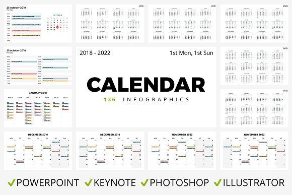 Calendar 136 Slides 2018 2022 Presentation Templates