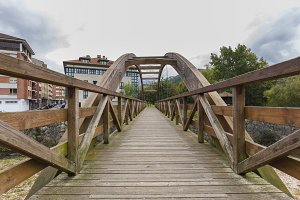 Wooden bridge in Cangas de Onis.