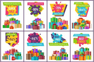 Sale Posters with Gift Boxes in Decorative Paper