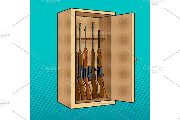 Cabinet with guns pop art vector illustration