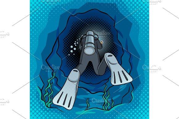 Scuba diver dives into the cave pop art vector