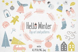 Hello Winter Set, clip art, patterns