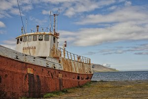 Rusty shipwreck in Iceland