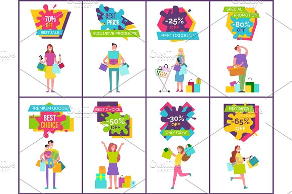 -70% Off Best Sale and Price Vector Illustration