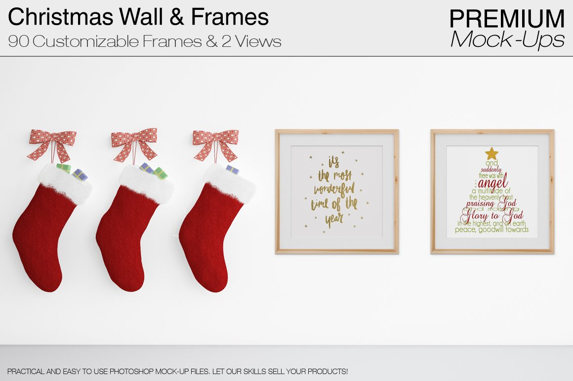 Christmas Wall And Frames Mockup Set Product Mockups Creative Market
