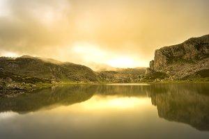 La Ercina lake (Lakes of Covadonga).