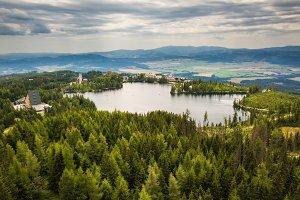 Mountain lake Strbske Pleso in National Park High Tatras in Slovakia