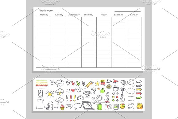 Work Week Table and Icons on Vector Illustration