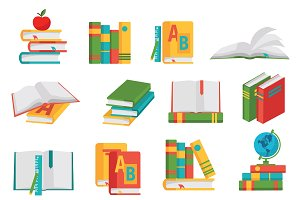 School Books Icon Set