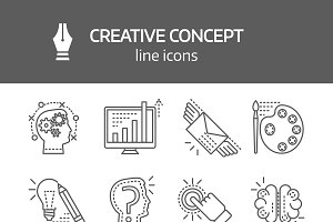 Creative Concept Linear Icons