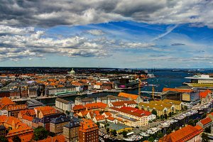 Panoramic aerial cityscape of Copenhagen city