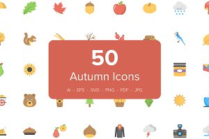 50 Flat Autumn Icons