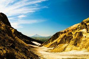 View to Viluchinsky volcano from the caldera of Mutnovsky, Kamch