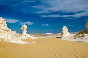 Nature sculptures in White desert, Sahara, Egypt