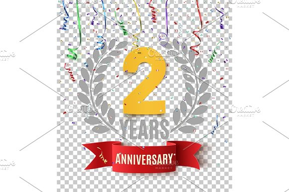 Two years anniversary background with red ribbon.