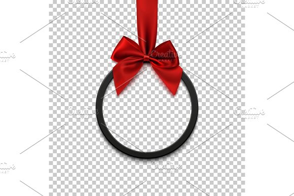 Black round banner with red ribbon and bow.