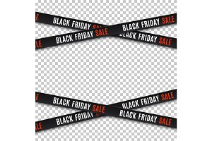 Black friday sale banners. Warning tapes, ribbons.
