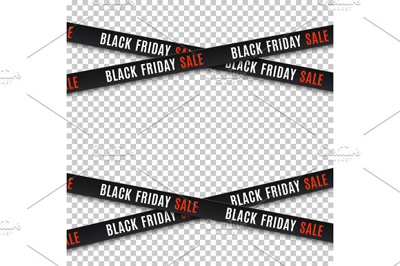 Black friday sale banners. Warning tapes, ribbons. in Objects