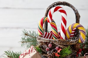 Christmas basket with candy canes