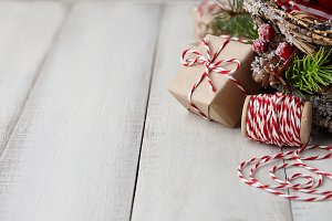 Christmas box wrapped in kraft paper