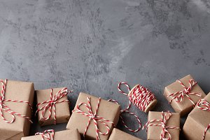 Christmas gifts wrapped in kraft