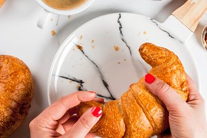Croissants with coffee