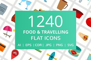 1240 Food & Travelling Flat Icons
