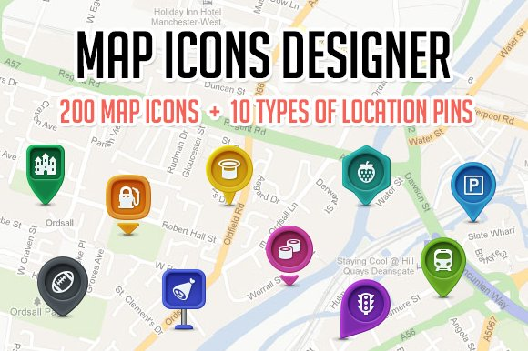 Map icons designer web elements creative market gumiabroncs