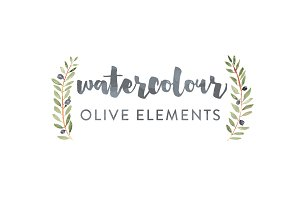 Olive Watercolor Elements