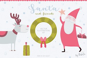 Santa and Friends Vector Set