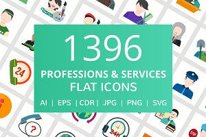 1396 Profession & Service Flat Icons
