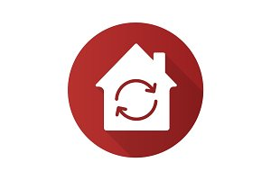Home restoration flat design long shadow glyph icon