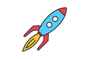 Toy rocket color icon