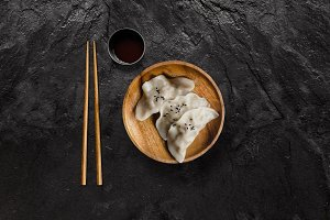 Asian gyoza dumplings with soy sauce