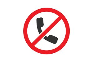 Forbidden sign with handset glyph icon