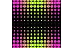 Modern gradient pink to neon green background with dots in 80s 90s style