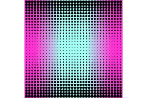 Modern gradient pink to neon blue background with dots in 80s 90s style