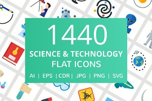 1440 Science & Technology Flat Icons