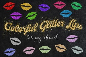 Sparkly Glitter Lips Clipart