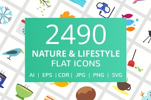 2490 Nature & Lifestyle Flat Icons