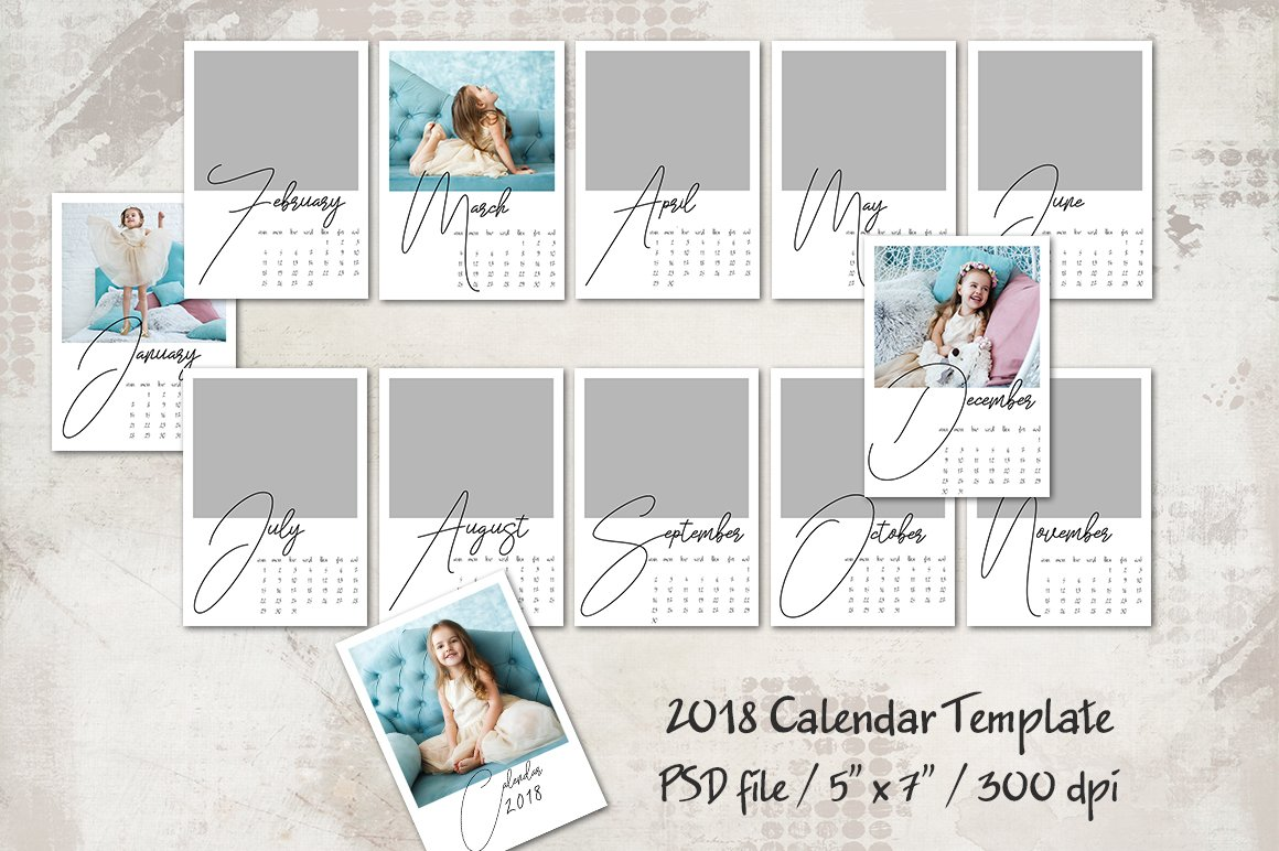 2018 calendar template 5x7 personal templates creative market. Black Bedroom Furniture Sets. Home Design Ideas