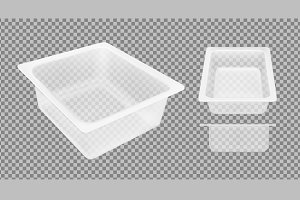 Transparent empty plastic container
