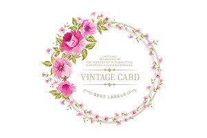 Luxurious color peony label.
