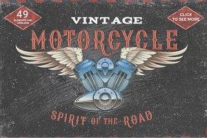 Set Vintage motorcycle labels