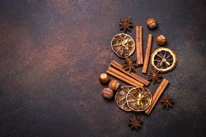 Christmas spices and  nuts