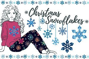 Christmas snowflakes vector collecti