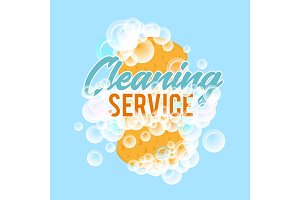 Clraning service logo or badge with sponge for washing with foam bubbles