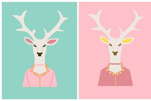 Deer heads, background flat