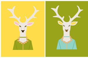 Deer heads, flat background